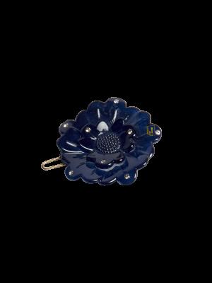 Flower clip Swarovski Navy
