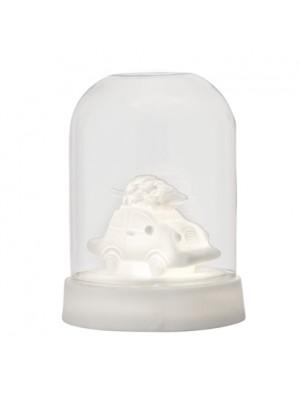 Deko m/Lys, Hvid, Porcelæn