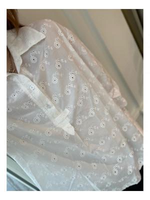 Tiffany Maya Ruffle Shirt Cotton Lace, White