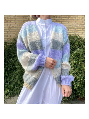 Noella cardigan - Kala Light blue/purple stripe