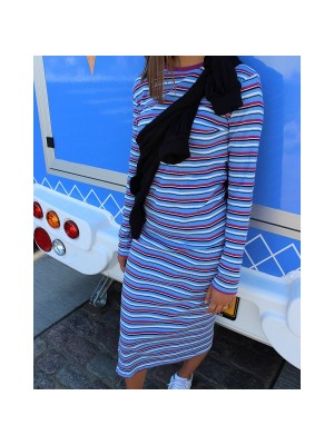 LIBERTÈ - Roberta A-Dress - Blue Fuchsia Stripe