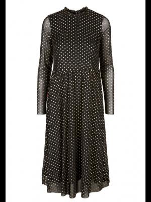 YAS Kjole - Doritha LS Mesh Dress, Black/Gold Foil