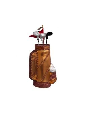 Ornament i  glas brun golfbag H15cm