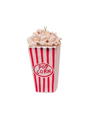 Ornamentglas rød / hvid popcorn H11cm