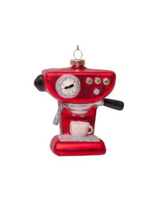 Ornament glas rød kaffemaskine H9cm