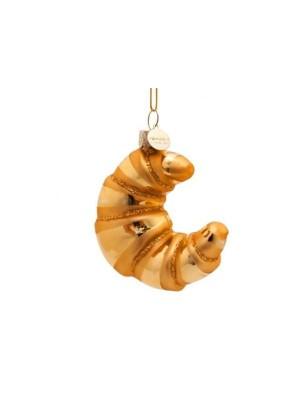 Ornament i  glas guld croissant H10cm