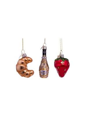 Mini ornamenter i mundblæst glas 5 cm.