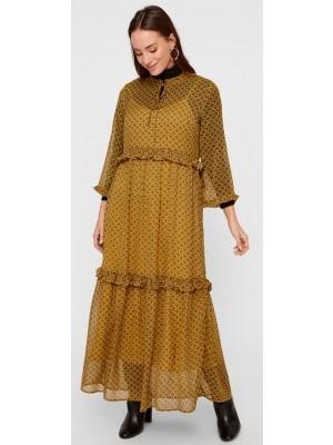 Y.A.S - Tiffani LS Long Dress - Buckthorn Brown Tiffani Print