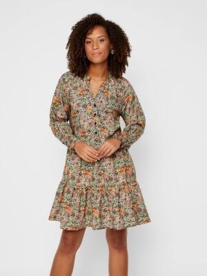 YAS Kjole - Florala LS Dress, Coral Pink